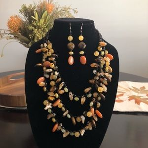 Matching Autumn Colored Necklace and Earrings